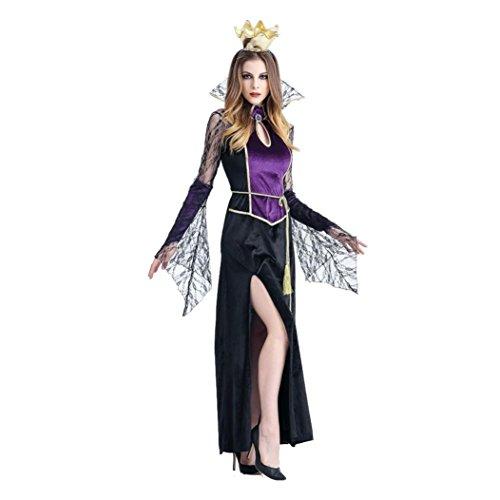 Damen Halloween Vampirshexe Cosplay Set, zahuihuiM Erwachsene 2Pcs Party Requisiten Kostüm Set, Schwarz und Lila Stehkragen Baumwolle Kleid +...
