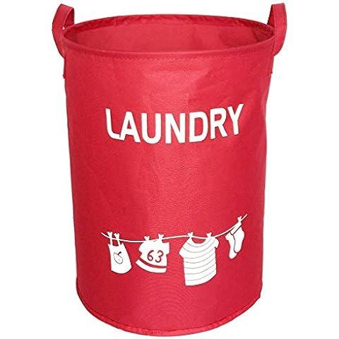 hoomall Bolsa para la ropa sucia Cubo grande cilíndrico en el armario plegable cesta de almacenamiento Cubo 34x 45cm, Rojo, 34cmx45cm