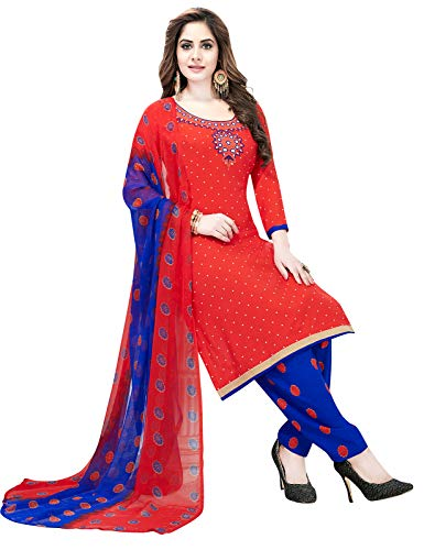 Ishin Synthetic Orange & Blue Printed Women\'s Unstitched Salwar Suits dress material with Dupatta