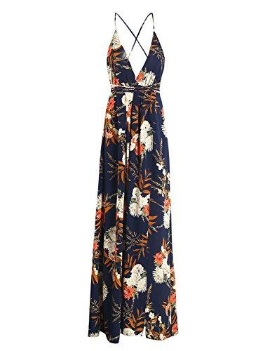 simplee abbigliamento femminile / collo tornare floreali split - maxi vestito Blu