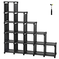 SONGMICS 16 Cube Shoe Rack DIY Modular Storage Shelves and Bookshelf Toy Rack Display Cabinet and Closet Organiser Unit Includes Rubber Mallet
