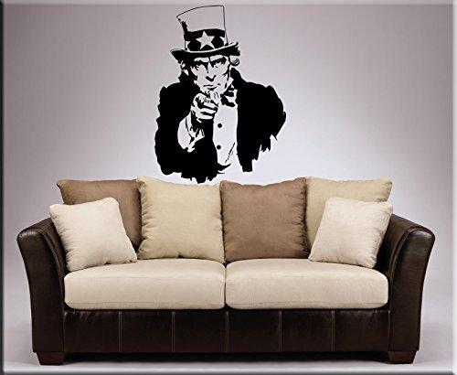 DESIVO DA MURO Lo Zio Sam Uncle Sam personificazione nazionale degli Stati Uniti d'America WALL STICKERS STICKER ADESIVI MURALI AMERICANI