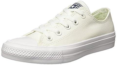 Converse Unisex-Erwachsene Sneakers Chuck Taylor All Star II C150154 Low-Top, Weiß (White/White/Navy), 37.5