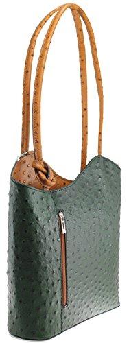 cuir d'autruche de la CTM Sac femmes, 28x30x9cm, 100% véritable cuir Fabriqué en Italie Poignée En Cuir Vert