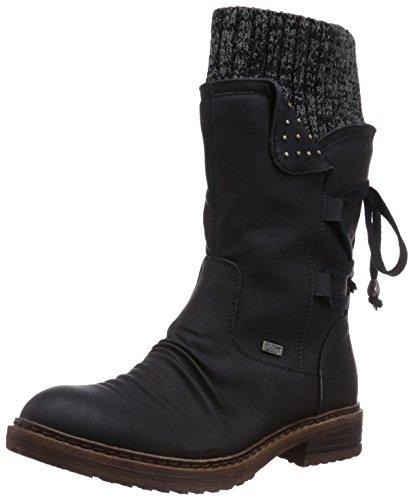 Rieker Damen 94773 Halbschaft Stiefel, schwarz/Black-Grey / 00, 38 EU -