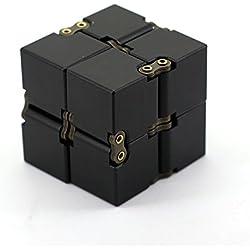 Jouet Fidget Cube Magic Cube Infinity de KENROLL(aluminium) - Conception de boîte de puzzle pour soulagement du stress et de l'anxiété, adapté aux voyages, à la famille, au bureau et à l'école (Noir)
