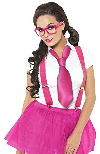 Smiffys 25645 - Glam Geek Kit mit Brille Zahnspange und Krawatte, rosa