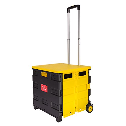 Topgoods Klappbarer Shopping-Trolley Praktischer Einkaufstrolley Aluminium Kunststoff Einkaufskörbe mit rollen bis 35kg (Schwarz-Gelb mit Deckel)