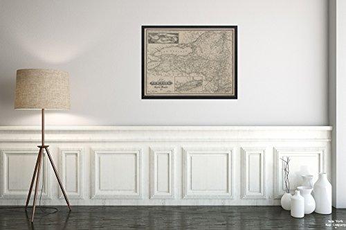 1854Karte von 12Frankfort (STR, New York Map of The State of New York Magnus, Charles|Historic Antik Vintage Reprint|Ready Zum Rahmen
