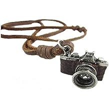 Original Tribe Brown de cuero real y de la aleación de la cámara colgante Adiustable Collar