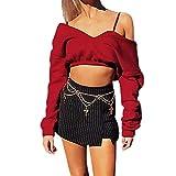 Frauen V-Ausschnitt langärmelige Kurze Einfarbige Sexy Top-Damen Gemütlich Leinen Dünnschnitt Lose Bluse T-Shirt Pullover-Kurzer Shirt Aufdruck V-Ausschnitt,Ärmel Einfarbig Sexy(Rosa,XL)