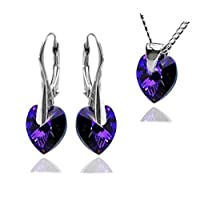 Royal Crystals Sterling Silver Made with Swarovski Crystals Purple Blue Heart Pendant NECKLACE Earrings Jewellery Set