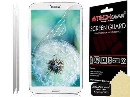 TECHGEAR [2 Stück Displayschutz für Samsung Galaxy Tab 3 8.0 Zoll (SM-T310 / SM-T311 / SM-T315) - Ultra Klare Schutzfolie mit Reinigungstuch + Applikationskarte