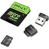 PNY Carte mémoire MicroSDHC High Performance Kit 32 Go Classe 10 UHS-1 U1 avec une vitesse de lecture allant jusqu'à 80 Mb/s avec adaptateur et USB 2.0