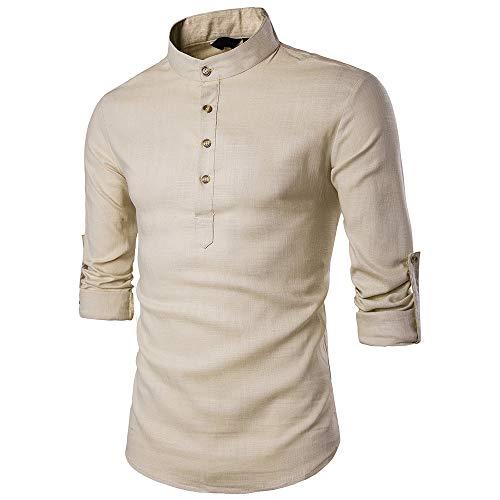 Langarm-polo-shirt (WQWQ Herren Polo Shirt, Knopf Leinen Shirt, Business Slim Casual Langarm, High End Polo Langarm Shirt XXL,A,M)