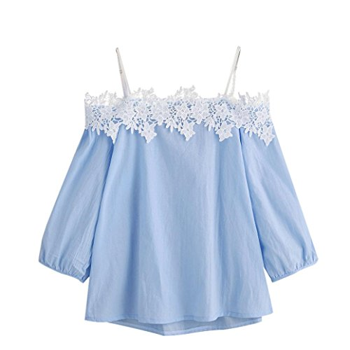 Ouneed® Women Bandage Off shoulder Lace T-Shirt Top Ladies Tops Tee Blouse (UK Size:10, Blue)