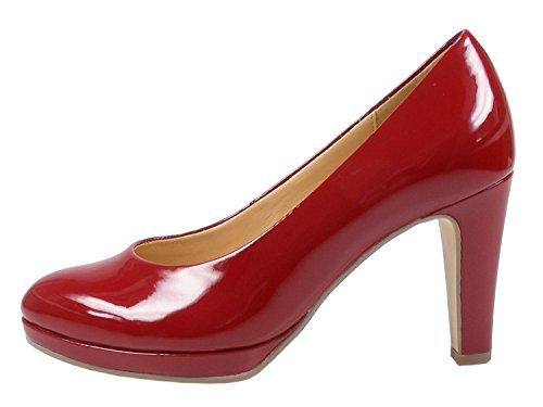 Gabor 91-270 Schuhe Damen Lack Plateau Pumps Weite F, Schuhgröße:41, Farbe:Rot