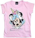 Minnie Mouse T-Shirt Mädchen Disney Rundhalsausschnitt (Rosa, 116)