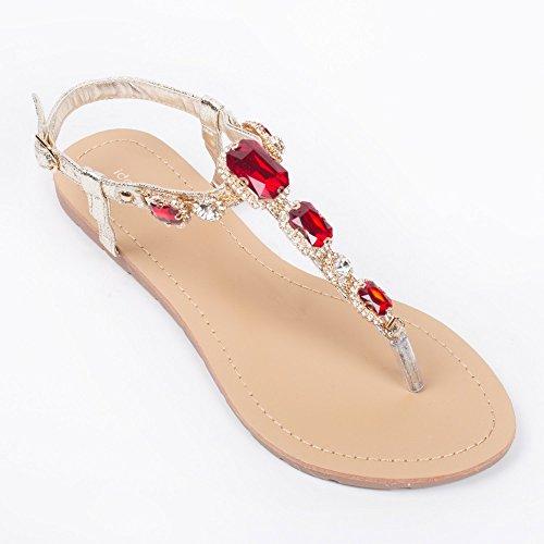 Ideal-Shoes Nu-piedi, effetto glitterato, e legno incrostato Venda strass Rosso (rosso)