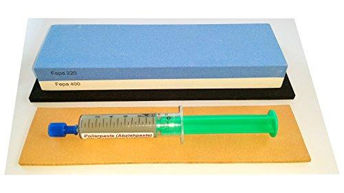 Preisvergleich Produktbild Messer-Schärf-Set, 3-teilig, 6cm breiter!!! Korund FEPA 220/400 + Leder + Polierpaste