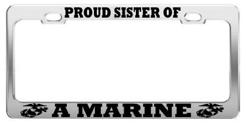 Lionkin8 Stolze Schwester der A Marine United States U.S. Army Stahl Nummernschild Rahmen -