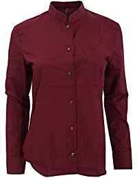 Kariban Damen Langarm-Hemd mit Stehkragen
