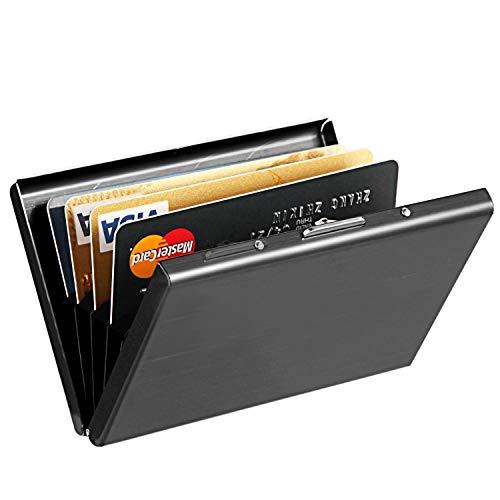 RFID Kreditkartenetui,UWILD ® Kartenetui Deluxe Edelstahl, RFID Blocking Kreditkarte Mappen Halter Geldbörse für Männer & Frauen (Black) -