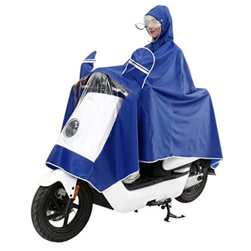 XGYUII Elektrische Motorrad Erwachsene wasserdichte Doppel Hut Krempe Poncho Männliche und Weibliche Einzelne Helm Maske Regenmantel Regen Abdeckung Sicheres Reiten,Blue,3XL