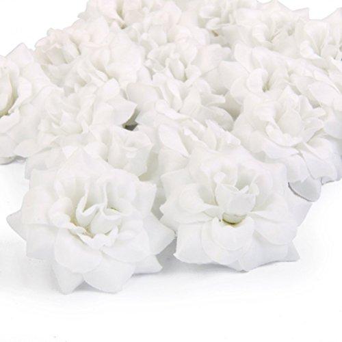 VORCOOL 50 Stück Kunstblumen Rosenköpfe Stoffrosen Deko-Blüte (Weiß) (Weiße Rose Künstliche)