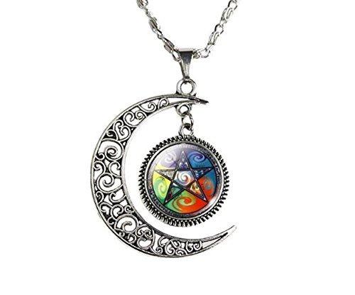 Collar de pentáculo con amuleto de protección de Wicca y pentagrama, collar de Wicca y Pagan, regalo de joyería de Wiccan