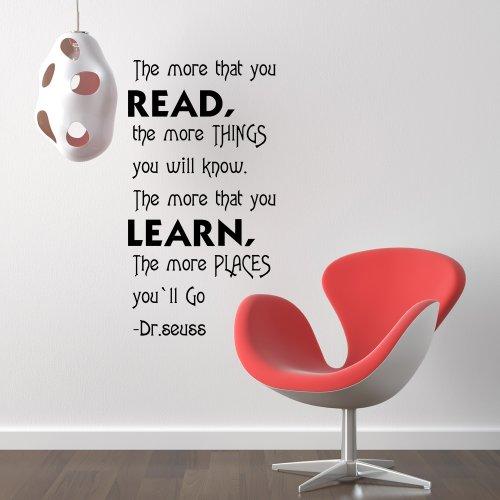 Dr. Seuss Spruch Wandtattoo Vinyl inspirierende Aufkleber quote-the mehr Sie lesen & learn-art Decor, Vinyl, schwarz, 22