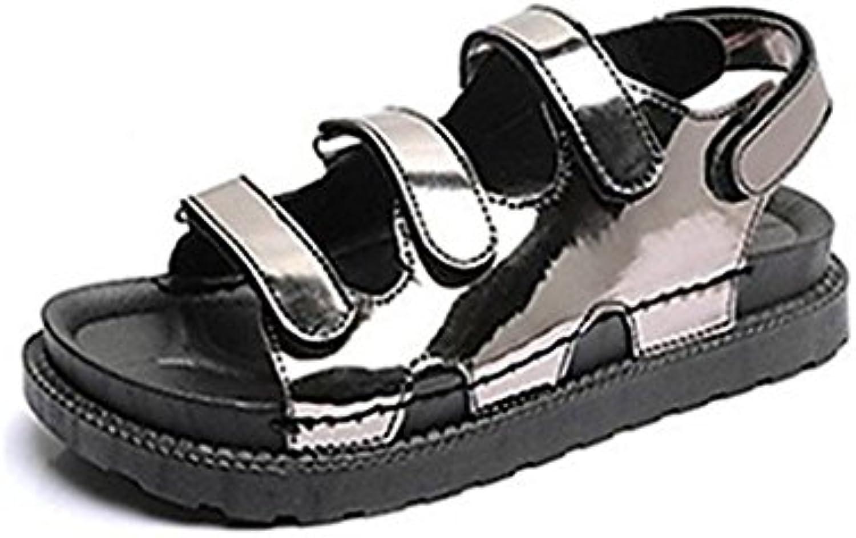 Zapatos de Mujer PU Primavera Sandalias de Verano Heel Fino Heel Open Toe Hebilla de Cadena para Fiesta y Noche Zapatos de Mujer Zapatos (Color : Rosado, Tamaño : 37) 37|Rosado