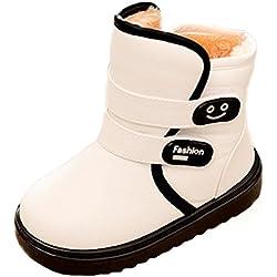Minetom Colore Contrasto Ragazza Bootie Stivaletti Bambini Comodi Infantile Bambino Cashmere Inverno Caldo Stivali Bambina Moda Shoes Bianca EU 29 (17.5cm)