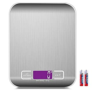 Digital Kitchen Scale with Tare 5Kg/11lb High Precision up to 1g Stainless Steel Weighing Scales Food with LCD Display for Home, Kitchen (Batteries Included)