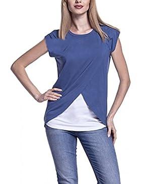Magliette Donna Premaman Allattamento Gravidanza Estivii T Shirt Elegant Manica Corta Girocollo Casuali Larghi...