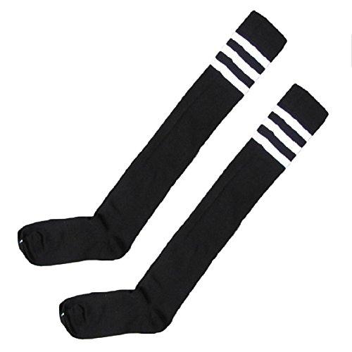 Chytaii Calcetines Largos Medias de Invierno Estilo Deporte para Mujer Calcetines hasta la Rodilla con Raya 1 Par Multicolor