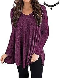 ab108711e BUOYDM Mujer Camiseta Mangas Largas V Cuello Dobladillo Elegante Casual T  Shirts Tops