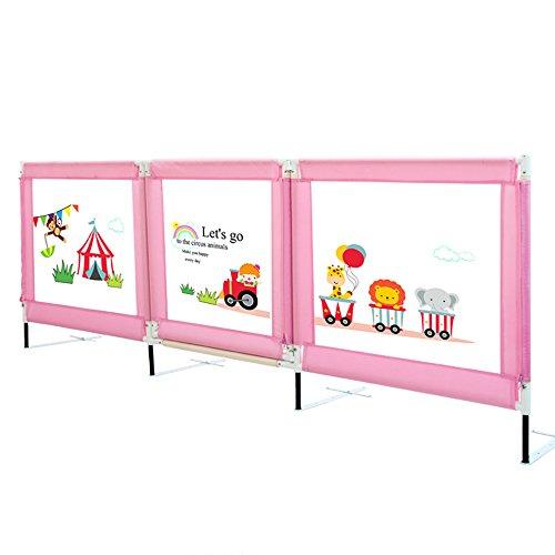 Kinderbett Bett Schienen (Brisk- Bett Schiene \ Bett-Geländer Kinderbett Zaun King-Bett Splitterfest Universal-Bettgitter Für Babys 1.5m \ 1.8m \ 2m (Farbe : Pink, größe : 2m))