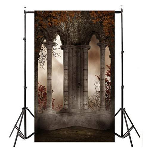 GongzhuMM Décoration Halloween Accessoire Fond de Photographie Mur Château Vintage 3D Accessoire de Photographie Halloween Parti Famille 150x90cm