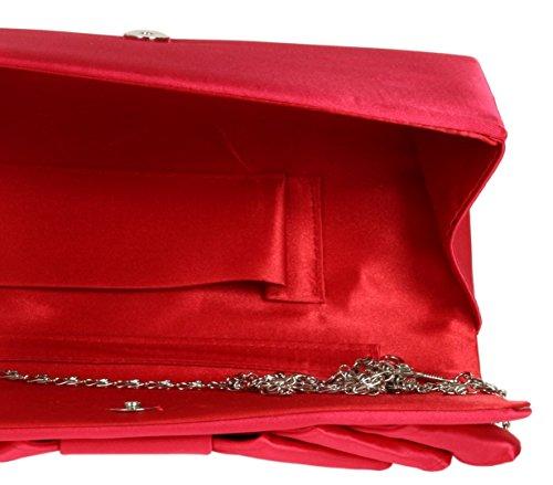 Girly HandBags Satin Unterarmtasche Falten Geschehen Anlässe Schulter Elegante Retro Farben Hochzeit Braut Schülerball Rot