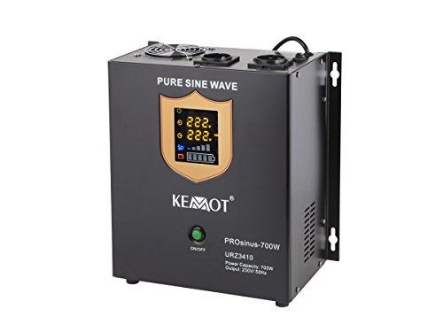KEMOT urz3410, Alimentation d'urgence Convertisseur Pur Sinus Fonction de Charge, 12 V, 230 V, 1000 VA/700 W Noir