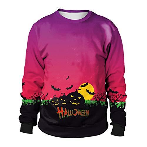 ZEZKT-Mode Frühling Herbst Pullover Damen Sweatshirt Pullover   Halloween Motiv Muster Pullover   Frauen Langarm Hoodies Jacke   3D Blumendruck Design Kostüm (Beliebte Halloween-kostüme Für Frauen)