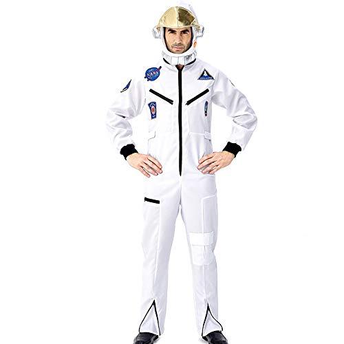 Halloween Kostüm Herren Erwachsene Unisex Karneval Fasching Astronauten-Raumanzug-Raumfahrer Spielt Mit Einem Hut,Weiß,XL -