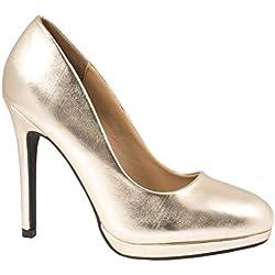 Elara Bequeme Pumps | Klassische Lack Stilettos | High Heels Gold 37