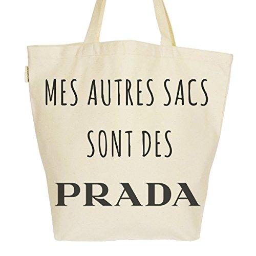 Grand Sac Cabas Fourre-tout Imprimé Toile Bio 37x45x20cm Tote Bag XL - Mes autres sacs sont des Prada