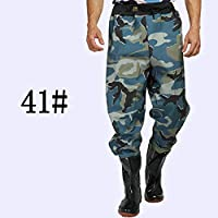 Muchen Wader 75s - Vadeador de pesca con cintura alta con pantalones de vadeo, botas de nailon + PVC para pesca al aire libre A345, tamaño 41