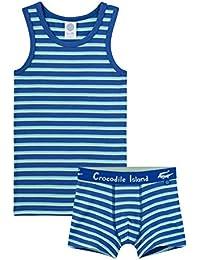 Sanetta - Juego de ropa interior para niño (2 piezas), color azul y verde