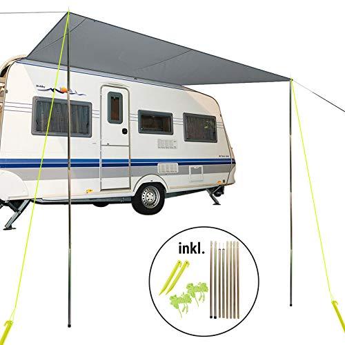 Bo-Camp Sonnensegel für Wohnwagen & Wohnmobil grau 3,50 x 2,4, für Kederleisten 7 mm,Wassersäule 2000 mm inkl Aufstellstangen