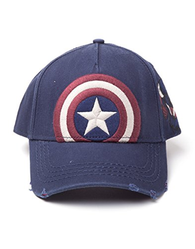 Bioworld EU Marvel Comics Captain America Embroidered Vintage Shield Adjustable Cap, Blue (SB177804MAR) Casquette de Baseball, Taille Unique Mixte