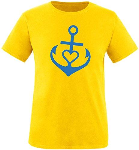 EZYshirt® Anker mit Herz Herren Rundhals T-Shirt Gelb/Blau